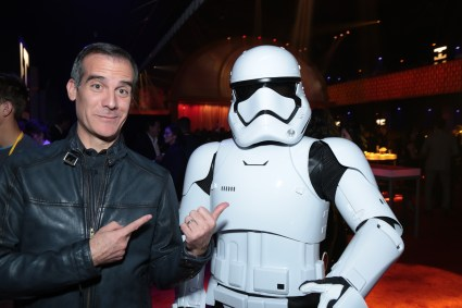 Mayor Eric Garcetti poses with a Storm Trooper at the after party for the world premiere of LucasfilmÕs Star Wars: The Last Jedi at the Shrine Auditorium in Los Angeles, December 9, 2017..(Photo: Alex J. Berliner / ABImages )