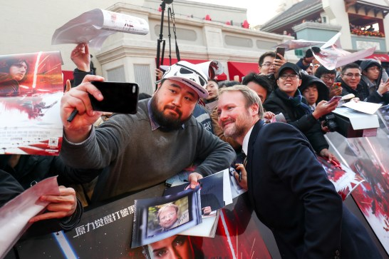 Rian Johnson attends the Shanghai premiere of the highly anticipated Star Wars: The Last Jedi.