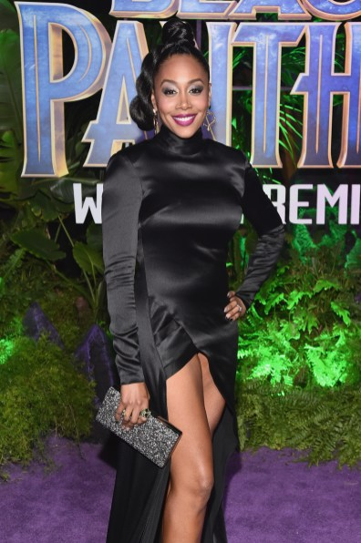 HOLLYWOOD, CA - JANUARY 29: Actor Simone Missick at the Los Angeles World Premiere of Marvel Studios' BLACK PANTHER at Dolby Theatre on January 29, 2018 in Hollywood, California. (Photo by Alberto E. Rodriguez/Getty Images for Disney) *** Local Caption *** Simone Missick