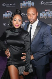 HOLLYWOOD, CA - JANUARY 29: Actors Simone Missick (L) and Dorian Missick at the Los Angeles World Premiere of Marvel Studios' BLACK PANTHER at Dolby Theatre on January 29, 2018 in Hollywood, California. (Photo by Jesse Grant/Getty Images for Disney) *** Local Caption *** Simone Missick; Dorian Missick