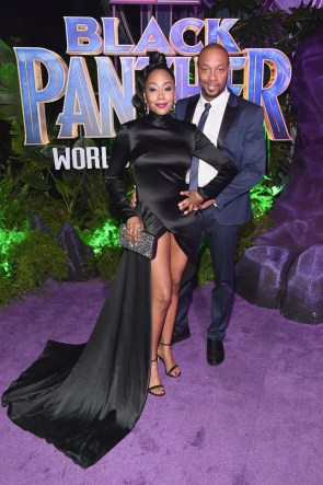 HOLLYWOOD, CA - JANUARY 29: Actors Simone Missick (L) and Dorian Missick at the Los Angeles World Premiere of Marvel Studios' BLACK PANTHER at Dolby Theatre on January 29, 2018 in Hollywood, California. (Photo by Alberto E. Rodriguez/Getty Images for Disney) *** Local Caption *** Simone Missick; Dorian Missick