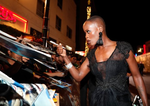 HOLLYWOOD, CA - JANUARY 29: Actor Florence Kasumba at the Los Angeles World Premiere of Marvel Studios' BLACK PANTHER at Dolby Theatre on January 29, 2018 in Hollywood, California. (Photo by Rich Polk/Getty Images for Disney) *** Local Caption *** Florence Kasumba
