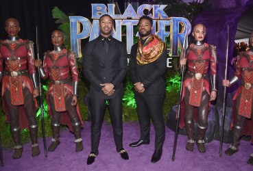 HOLLYWOOD, CA - JANUARY 29: Actor Michael B. Jordan (L) and writer/director Ryan Coogler at the Los Angeles World Premiere of Marvel Studios' BLACK PANTHER at Dolby Theatre on January 29, 2018 in Hollywood, California. (Photo by Alberto E. Rodriguez/Getty Images for Disney) *** Local Caption *** Ryan Coogler; Michael B. Jordan