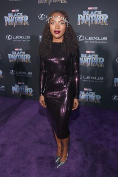 HOLLYWOOD, CA - JANUARY 29: Actor DeWanda Wise at the Los Angeles World Premiere of Marvel Studios' BLACK PANTHER at Dolby Theatre on January 29, 2018 in Hollywood, California. (Photo by Jesse Grant/Getty Images for Disney) *** Local Caption *** DeWanda Wise