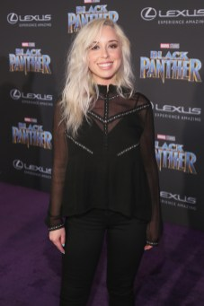 HOLLYWOOD, CA - JANUARY 29: Actor Skyler Shaye at the Los Angeles World Premiere of Marvel Studios' BLACK PANTHER at Dolby Theatre on January 29, 2018 in Hollywood, California. (Photo by Jesse Grant/Getty Images for Disney) *** Local Caption *** Skyler Shaye