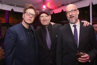 HOLLYWOOD, CA - JANUARY 29: (L-R) Director James Gunn, Marvel Studios President Kevin Feige, and director Peyton Reed at the Los Angeles World Premiere of Marvel Studios' BLACK PANTHER at Dolby Theatre on January 29, 2018 in Hollywood, California. (Photo by Jesse Grant/Getty Images for Disney) *** Local Caption *** James Gunn; Peyton Reed; Kevin Feige