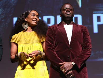 HOLLYWOOD, CA - JANUARY 29: Actors Angela Bassett and Daniel Kaluuya at the Los Angeles World Premiere of Marvel Studios' BLACK PANTHER at Dolby Theatre on January 29, 2018 in Hollywood, California. (Photo by Jesse Grant/Getty Images for Disney) *** Local Caption *** Daniel Kaluuya; Angela Bassett