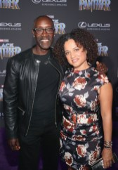 HOLLYWOOD, CA - JANUARY 29: Actor Don Cheadle and Bridgid Coulter at the Los Angeles World Premiere of Marvel Studios' BLACK PANTHER at Dolby Theatre on January 29, 2018 in Hollywood, California. (Photo by Jesse Grant/Getty Images for Disney) *** Local Caption *** Don Cheadle; Bridgid Coulter