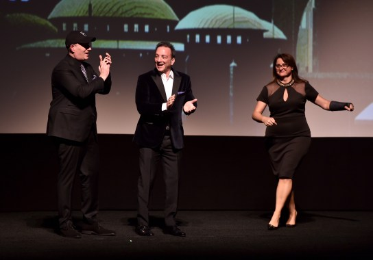 HOLLYWOOD, CA - JANUARY 29: (L-R) Marvel Studios President Kevin Feige, producers Louis D'Esposito and Victoria Alonso at the Los Angeles World Premiere of Marvel Studios' BLACK PANTHER at Dolby Theatre on January 29, 2018 in Hollywood, California. (Photo by Alberto E. Rodriguez/Getty Images for Disney) *** Local Caption *** Kevin Feige; Louis D'Esposito; Victoria Alonso