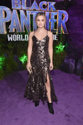 HOLLYWOOD, CA - JANUARY 29: Actor Olivia Holt at the Los Angeles World Premiere of Marvel Studios' BLACK PANTHER at Dolby Theatre on January 29, 2018 in Hollywood, California. (Photo by Alberto E. Rodriguez/Getty Images for Disney) *** Local Caption *** Olivia Holt