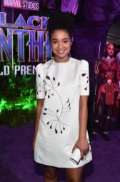 HOLLYWOOD, CA - JANUARY 29: Actor Aisha Dee at the Los Angeles World Premiere of Marvel Studios' BLACK PANTHER at Dolby Theatre on January 29, 2018 in Hollywood, California. (Photo by Alberto E. Rodriguez/Getty Images for Disney) *** Local Caption *** Aisha Dee
