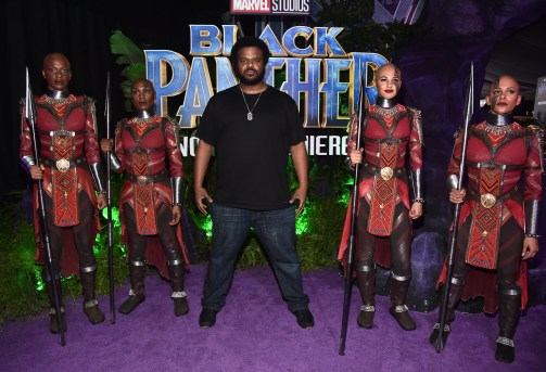HOLLYWOOD, CA - JANUARY 29: Actor Craig Robinson (C) at the Los Angeles World Premiere of Marvel Studios' BLACK PANTHER at Dolby Theatre on January 29, 2018 in Hollywood, California. (Photo by Alberto E. Rodriguez/Getty Images for Disney) *** Local Caption *** Craig Robinson