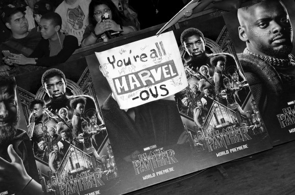 HOLLYWOOD, CA - JANUARY 29: (EDITOR'S NOTE: Image has been converted to black and white. Color version not available) Signage at the Los Angeles World Premiere of Marvel Studios' BLACK PANTHER at Dolby Theatre on January 29, 2018 in Hollywood, California. (Photo by Rich Polk/Getty Images for Disney)