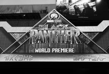HOLLYWOOD, CA - JANUARY 29: (EDITOR'S NOTE: Image has been shot in black and white. Color version not available) Signage at the Los Angeles World Premiere of Marvel Studios' BLACK PANTHER at Dolby Theatre on January 29, 2018 in Hollywood, California. (Photo by Rich Polk/Getty Images for Disney)