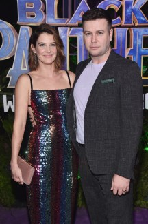 HOLLYWOOD, CA - JANUARY 29: Actors Cobie Smulders (L) and Taran Killam at the Los Angeles World Premiere of Marvel Studios' BLACK PANTHER at Dolby Theatre on January 29, 2018 in Hollywood, California. (Photo by Alberto E. Rodriguez/Getty Images for Disney) *** Local Caption *** Cobie Smulders; Taran Killam