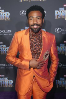 HOLLYWOOD, CA - JANUARY 29: Actor/singer Donald Glover at the Los Angeles World Premiere of Marvel Studios' BLACK PANTHER at Dolby Theatre on January 29, 2018 in Hollywood, California. (Photo by Jesse Grant/Getty Images for Disney) *** Local Caption *** Donald Glover; Childish Gambino