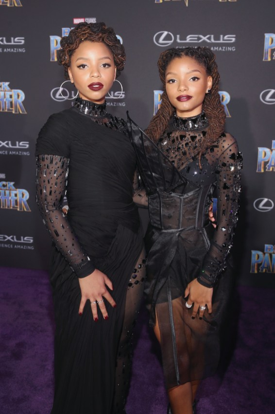 HOLLYWOOD, CA - JANUARY 29: Musical duo Chloe X Halle at the Los Angeles World Premiere of Marvel Studios' BLACK PANTHER at Dolby Theatre on January 29, 2018 in Hollywood, California. (Photo by Jesse Grant/Getty Images for Disney) *** Local Caption *** Chloe Bailey; Halle Bailey