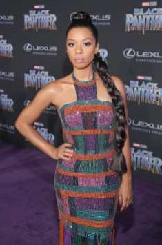 HOLLYWOOD, CA - JANUARY 29: Actor Angel Parker at the Los Angeles World Premiere of Marvel Studios' BLACK PANTHER at Dolby Theatre on January 29, 2018 in Hollywood, California. (Photo by Jesse Grant/Getty Images for Disney) *** Local Caption *** Angel Parker