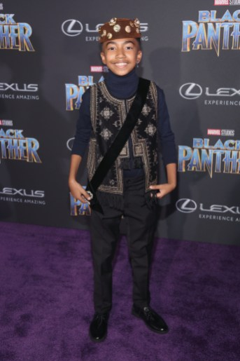 HOLLYWOOD, CA - JANUARY 29: Actor Miles Brown at the Los Angeles World Premiere of Marvel Studios' BLACK PANTHER at Dolby Theatre on January 29, 2018 in Hollywood, California. (Photo by Jesse Grant/Getty Images for Disney) *** Local Caption *** Miles Brown
