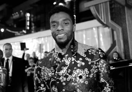 HOLLYWOOD, CA - JANUARY 29: (EDITOR'S NOTE: Image has been converted to black and white. Color version not available) Actor Chadwick Boseman at the Los Angeles World Premiere of Marvel Studios' BLACK PANTHER at Dolby Theatre on January 29, 2018 in Hollywood, California. (Photo by Rich Polk/Getty Images for Disney) *** Local Caption *** Chadwick Boseman