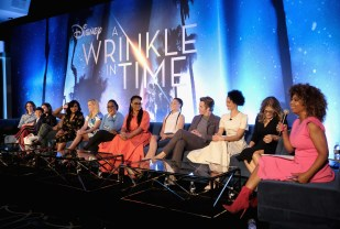 HOLLYWOOD, CA - FEBRUARY 25: (L-R) Actors Levi Miller, Rowan Blanchard, Deric McCabe, Zach Galifianakis, Mindy Kaling, Reese Witherspoon, Oprah Winfrey, Director Ava DuVernay, actors Storm Reid, Chris Pine, Gugu Mbatha-Raw, Screenwriter Jennifer Lee and moderator Tanika Ray participate in the press conference for Disney's 'A Wrinkle in Time' in Hollywood, CA on March 25, 2018 (Photo by Alberto E. Rodriguez/Getty Images for Disney) *** Local Caption *** Levi Miller; Rowan Blanchard; Deric McCabe; Zach Galifianakis; Mindy Kaling; Reese Witherspoon; Oprah Winfrey; Ava DuVernay; Storm Reid; Chris Pine; Gugu Mbatha-Raw; Jennifer Lee; Tanika Ray