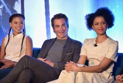 HOLLYWOOD, CA - FEBRUARY 25: (L-R) Actors Storm Reid, Chris Pine and Gugu Mbatha-Raw participate in the press conference for Disney's 'A Wrinkle in Time' in Hollywood, CA on March 25, 2018 (Photo by Alberto E. Rodriguez/Getty Images for Disney) *** Local Caption *** Storm Reid; Chris Pine; Gugu Mbatha-Raw