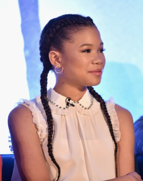 HOLLYWOOD, CA - FEBRUARY 25: Actor Storm Reid participates in the press conference for Disney's 'A Wrinkle in Time' in Hollywood, CA on March 25, 2018 (Photo by Alberto E. Rodriguez/Getty Images for Disney) *** Local Caption *** Storm Reid
