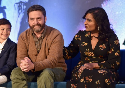 HOLLYWOOD, CA - FEBRUARY 25: (L-R) Actors Deric McCabe, Zach Galifianakis and Mindy Kaling participate in the press conference for Disney's 'A Wrinkle in Time' in Hollywood, CA on March 25, 2018 (Photo by Alberto E. Rodriguez/Getty Images for Disney) *** Local Caption *** Deric McCabe; Zach Galifianakis; Mindy Kaling