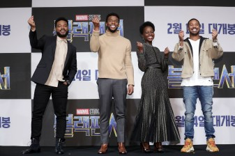 SEOUL, SOUTH KOREA - FEBRUARY 05: Director Ryan Coogler, Actor Chadwick Boseman, Lupita Nyong's and Michael B. Jordan(from L to R) attend the press conference for the Seoul premiere of 'Black Panther' on February 5, 2018 in Seoul, South Korea. (Photo by Han Myung-Gu/Getty Images for Disneyo (Photo by Han Myung-Gu/Getty Images for Disney) *** Local Caption *** Ryan Coogler; Actor Chadwick Boseman; Lupita Nyong'o; Michael B. Jordan