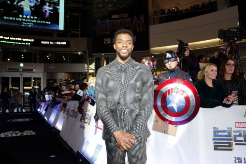 SEOUL, SOUTH KOREA - FEBRUARY 05: Actor Chadwick Boseman arrives at the red carpet of the Seoul premiere of 'Black Panther' on February 5, 2018 in Seoul, South Korea. (Photo by Han Myung-Gu/Getty Images for Disney) *** Local Caption *** Chadwick Bosemandan