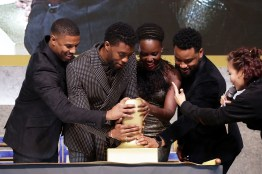SEOUL, SOUTH KOREA - FEBRUARY 05: Actor Michael B. Jordan, Lupita Nyong'o, Chadwick Boseman and director Ryan Coogler(Left to Right) take part in the red carpet event for the Seoul premiere of 'Black Panther' on February 5, 2018 in Seoul, South Korea. (Photo by Han Myung-Gu/Getty Images for Disney) *** Local Caption *** Michael B. Jordan; Lupita Nyong'o; Chadwick Boseman; Ryan Coogler