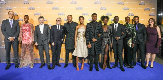 """LONDON, ENGLAND - FEBRUARY 08: Cast, Director and Producers attend the European Premiere of Marvel Studios' """"Black Panther"""" at the Eventim Apollo, Hammersmith on February 8, 2018 in London, England. (Photo by Gareth Cattermole/Getty Images for Disney)"""