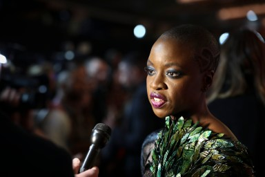 LONDON, UK – FEBRUARY 08: Danai Gurira attends the European Premiere of Marvel Studios' BLACK PANTHER at the Eventim Apollo in London on 8thFebruary 2018
