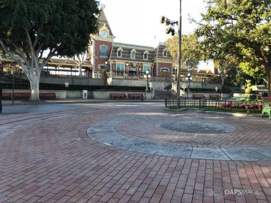 Disneyland Town Square Bricks With Walls Down in Spring-1