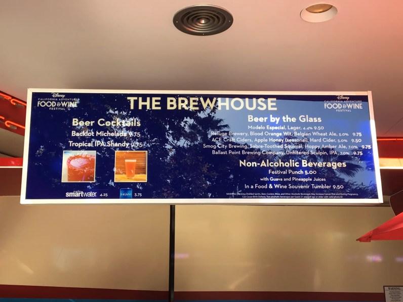 The Brewhouse Menu - 2018 Disney California Adventure Food and Wine Festival