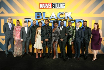 "LONDON, ENGLAND - FEBRUARY 08: Cast, Director and Producers attend the European Premiere of Marvel Studios' ""Black Panther"" at the Eventim Apollo, Hammersmith on February 8, 2018 in London, England. (Photo by Gareth Cattermole/Getty Images for Disney)"