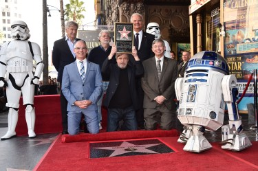 HOLLYWOOD, CA - MARCH 08: (top L-R) Harrison Ford, George Lucas, Hollywood Chamber of Commerce Chair of the Board Jeff Zarrinnam, (bottom L-R) LA City Councilman Mitch O'Farrell, Mark Hamill, and Hollywood Chamber of Commerce President and CEO, Leron Gubler at Mark Hamill Star Ceremony on the Hollywood Walk of Fame on March 8, 2018 at Hollywood Walk Of Fame in Hollywood, California. (Photo by Alberto E. Rodriguez/Getty Images for Disney) *** Local Caption *** Leron Gubler; Mark Hamill; Jeff Zarrinnam; George Lucas; Mitch O'Farrell