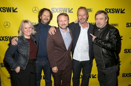 """AUSTIN, TX - MARCH 12: (L-R) Producer Tylie Cox, producer Ram Bergman, Writer/Director Rian Johnson, director Anthony Wonke and actor Mark Hamill attend the Star Wars: The Last Jedi """"The Director and The Jedi"""" SXSW Documentary Premiere at Paramount Theatre on March 12, 2018 in Austin, Texas. (Photo by Jesse Grant/Getty Images for Disney) *** Local Caption *** Tylie Cox;Ram Bergman;Rian Johnson;Anthony Wonke;Mark Hamill"""