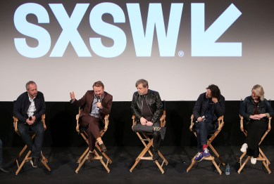"AUSTIN, TX - MARCH 12: (L-R) Director Anthony Wonke, Writer/Director Rian Johnson, actor Mark Hamill, producer Ram Bergman and producer Tylie Cox attend the Star Wars: The Last Jedi ""The Director and The Jedi"" SXSW Documentary Premiere at Paramount Theatre on March 12, 2018 in Austin, Texas. (Photo by Jesse Grant/Getty Images for Disney) *** Local Caption *** Anthony Wonke;Rian Johnson;Mark Hamill;Ram Bergman;Tylie Cox"