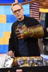 Marvel Studios' Avengers Infinity War talent Paul Bettany with the Hasbro Legends Infinity Gauntlet
