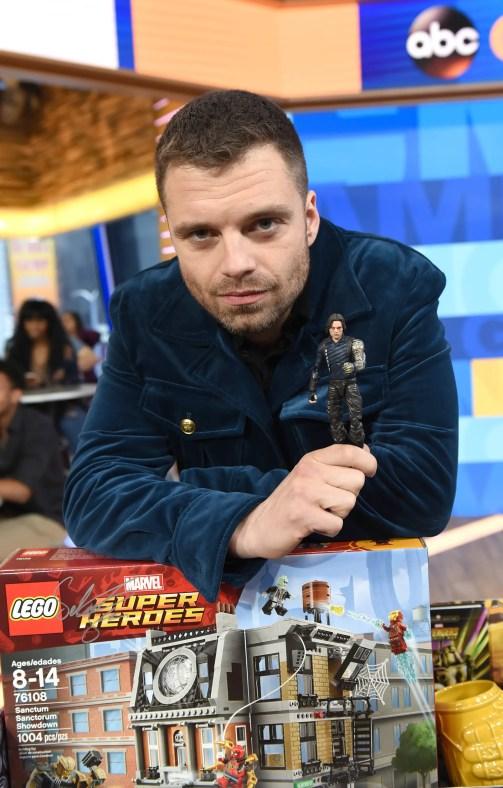 Marvel Studios' Avengers Infinity War talent Sebastian Stan with his new toys