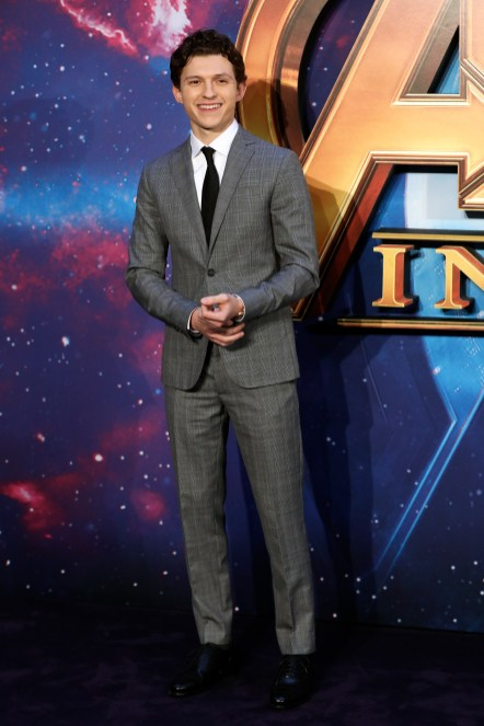 LONDON, ENGLAND - APRIL 08: Tom Holland attends the UK Fan Event to celebrate the release of Marvel Studios' 'Avengers: Infinity War' at The London Television Centre on April 8, 2018 in London, England.
