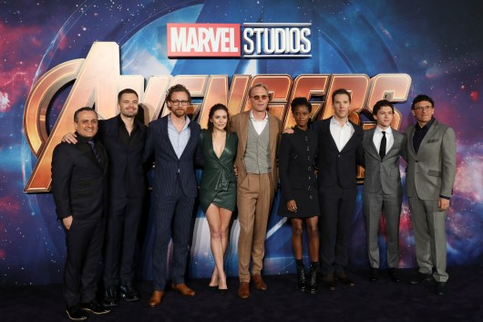 LONDON, ENGLAND - APRIL 08: The Cast attends the UK Fan Event to celebrate the release of Marvel Studios' 'Avengers: Infinity War' at The London Television Centre on April 8, 2018 in London, England.