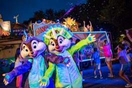 Every night, Chip and Dale dance the night away with guests during DonaldÕs Dino-Bash!, a lively celebration with festive decor and character greetings galore in DinoLand U.S.A. at DisneyÕs Animal Kingdom. Throughout the day, guests enjoy photo ops and greetings in several locations with feathered friends like Donald, Daisy, Scrooge McDuck and Launchpad McQuack, before the nighttime dance party. ItÕs all part of an Incredible Summer at Walt Disney World Resort. (Matt Stroshane, photographer)
