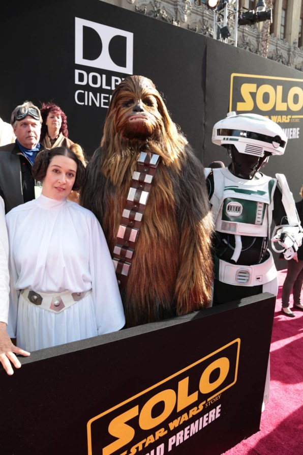 """Fans pose together at the world premiere of """"Solo: A Star Wars Story"""" in Hollywood on May 10, 2018. (Photo: Alex J. Berliner/ABImages)"""
