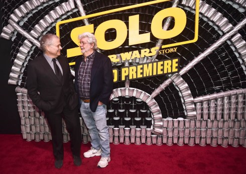 HOLLYWOOD, CA - MAY 10: Writer Lawrence Kasdan (L) and George Lucas attend the world premiere of ìSolo: A Star Wars Storyî in Hollywood on May 10, 2018. (Photo by Alberto E. Rodriguez/Getty Images for Disney) *** Local Caption *** George Lucas; Lawrence Kasdan