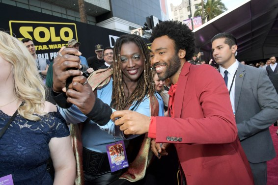 HOLLYWOOD, CA - MAY 10: Actor Donald Glover (R) attends the world premiere of ìSolo: A Star Wars Storyî in Hollywood on May 10, 2018. (Photo by Charley Gallay/Getty Images for Disney) *** Local Caption *** Donald Glover