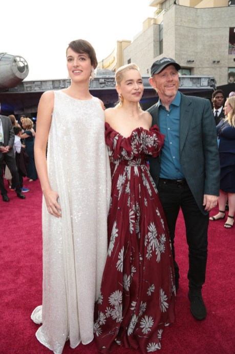 """Phoebe Waller-Bridge, Emilia Clarke and Ron Howard attend the world premiere of """"Solo: A Star Wars Story"""" in Hollywood on May 10, 2018. (Photo: Alex J. Berliner/ABImages)"""