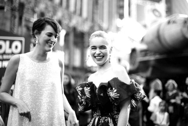 HOLLYWOOD, CA - MAY 10: (EDITORS NOTE: Image has been shot in black and white. Color version not available.) Actors Phoebe Waller-Bridge (L) and Emilia Clarke attend the world premiere of ìSolo: A Star Wars Storyî in Hollywood on May 10, 2018. (Photo by Charley Gallay/Getty Images for Disney) *** Local Caption *** Emilia Clarke; Phoebe Waller-Bridge