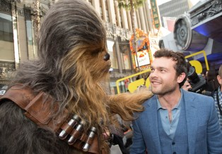 "Chewbacca greets Alden Enrenreich at the world premiere of ""Solo: A Star Wars Story"" in Hollywood on May 10, 2018..(Photo: Alex J. Berliner/ABImages)."